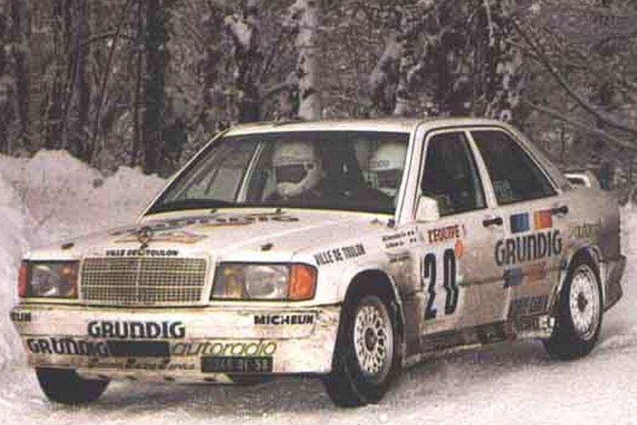 Bernard Darniche at 1987 Rallye Monte-Carlo in a Mercedes