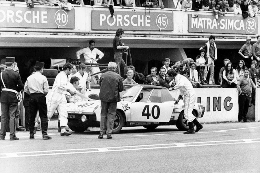 Claude Ballot-Lena's #40 Porsche 914/6 at 1970 Le Mans 24 Hours