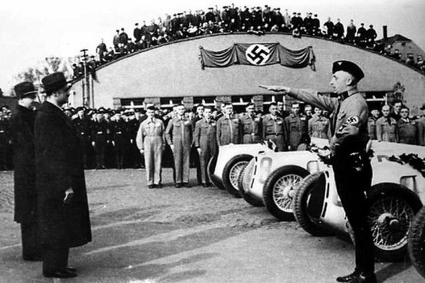 One of celebrations featuring Auto Union team and its drivers, Nazi motorsport politics