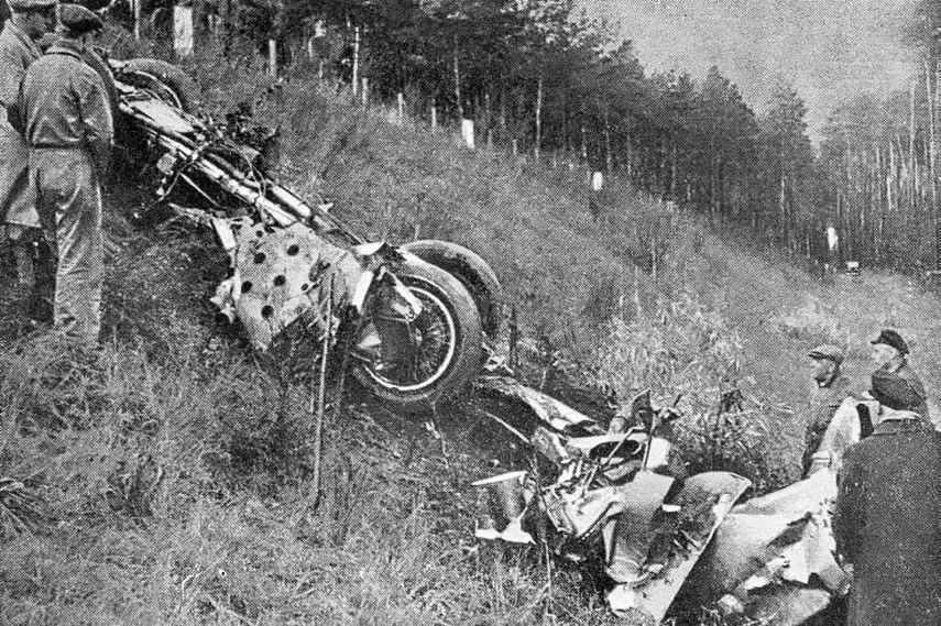Remains of Bernd Rosemeyer's Auto Union car after the 1938 crash