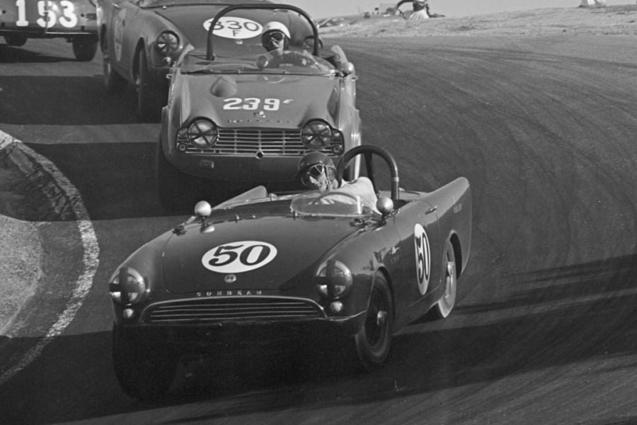 Ken Miles in action in a Sunbeam Alpine race car