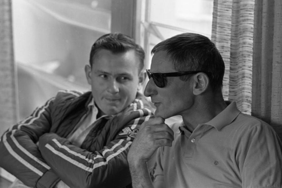 Ken Miles (right) and Bruce McLaren in 1965