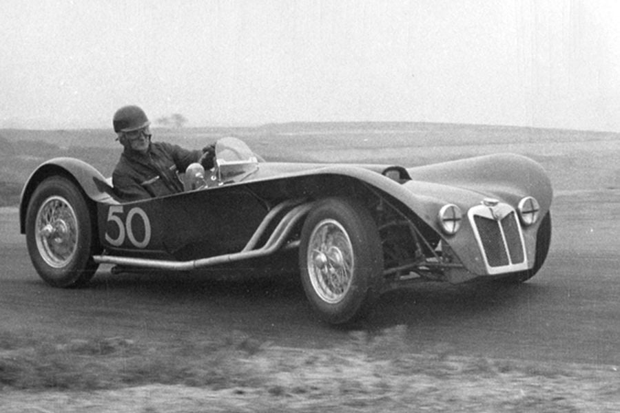 Ken Miles in an MG Special R2, known as the Flying Shingle