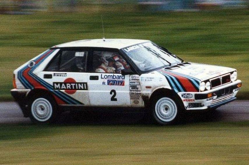 Markku Alen racing in Lancia Delta 4WD in 1987