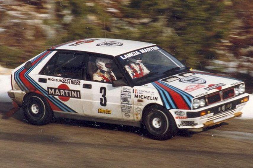 Bruno Saby racing in Lancia Delta HF 4WD