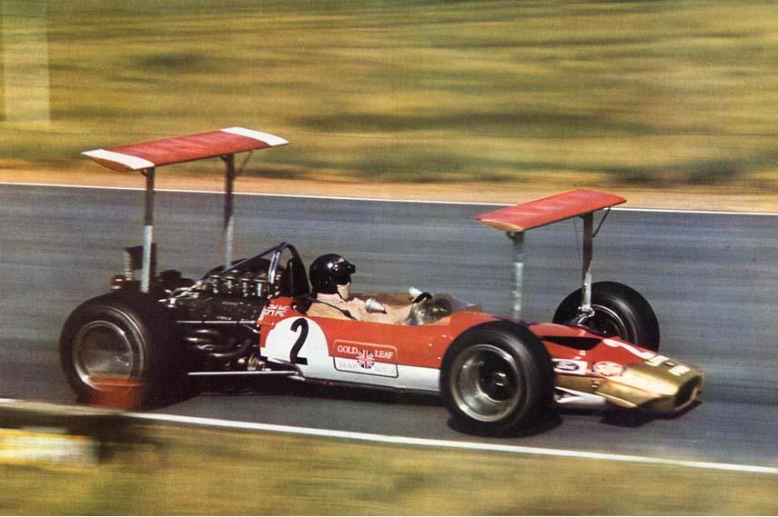 Aerodynamic experiment Lotus 49, Jochen Rindt driving