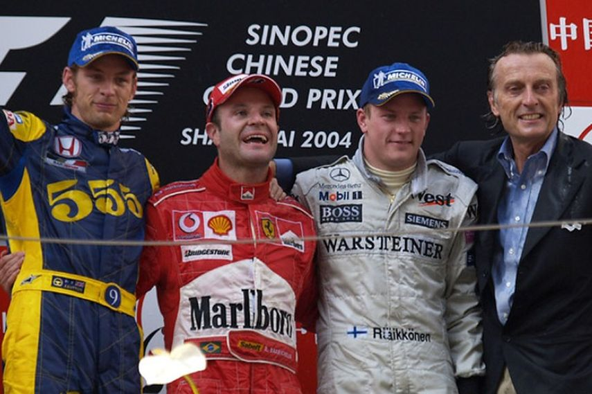 2004 Chinese Grand Prix, winner Rubens Barichello (Brasil), Jenson Button, Kimi Raikkonen, teams Ferrari, BAR, McLaren