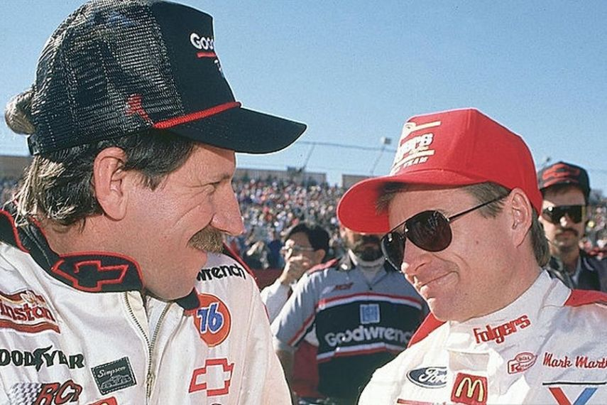 Dale Earnhardt and Mark Martin in 1990