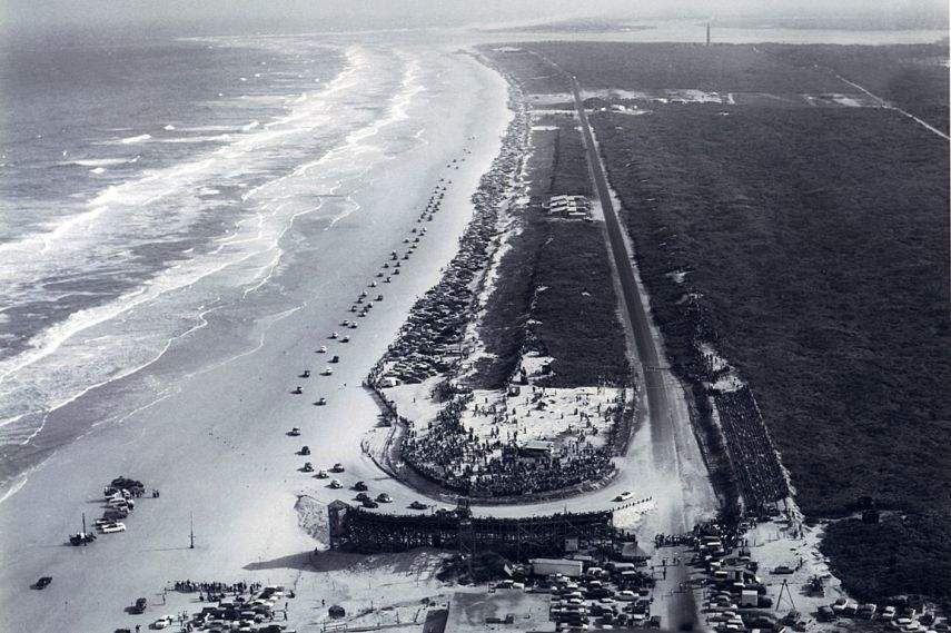 Daytona Beach Road Course aerial view, raceway history, black and white