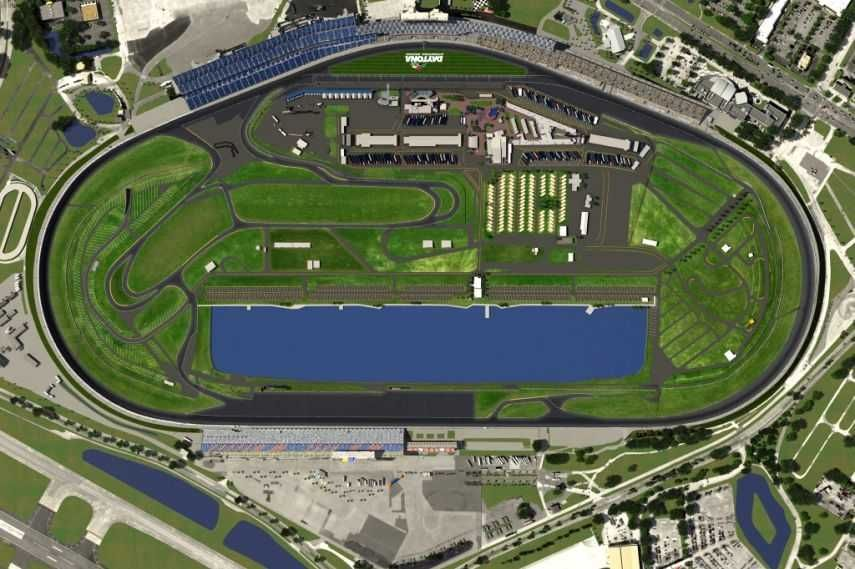 Daytona International Speedway, Daytona oval, infield road course, track layout