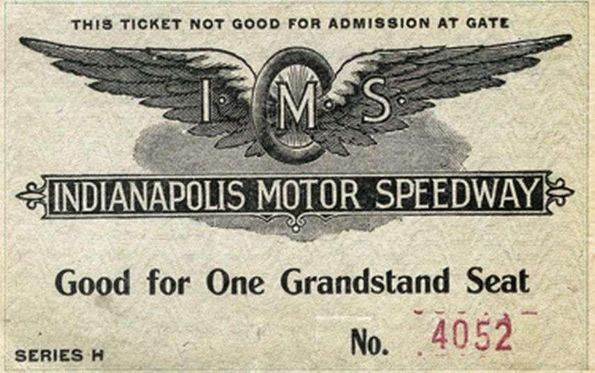 Indianapolis Motor Speedway, 1909 ticket