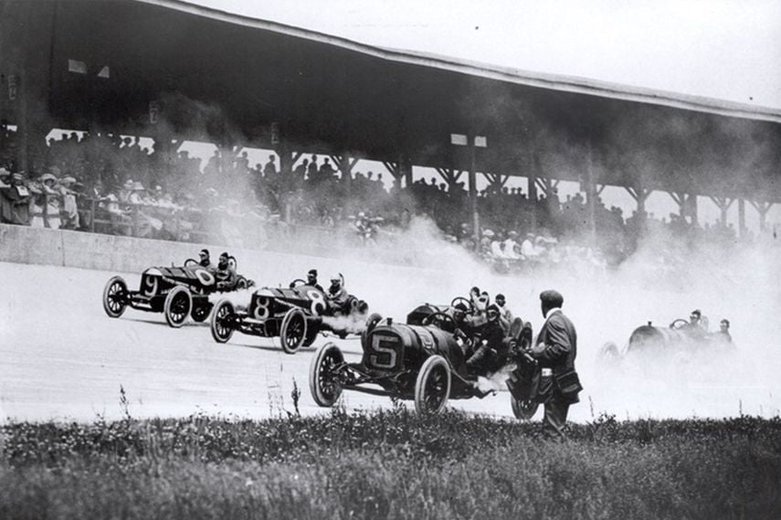 Indianapolis Motor Speedway, Indianapolis 500, 1911, black and white