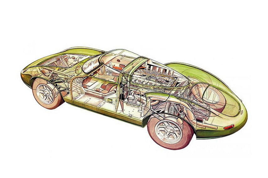 The cutaway of XJ13 shows advanced construction