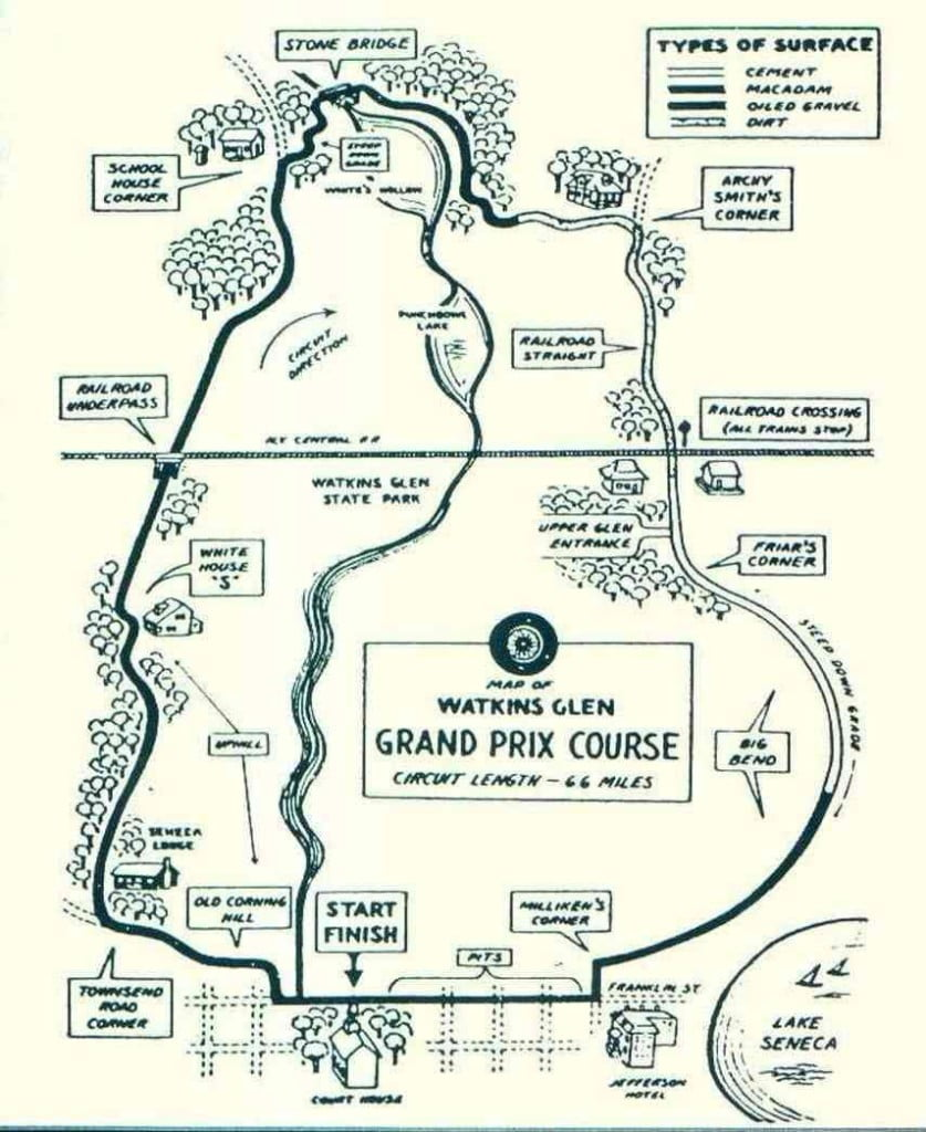 Watkins Glen, map 1948-1952