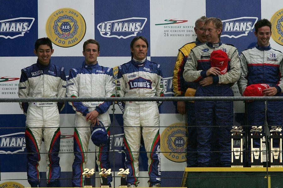 Adrian Fernandez at 2007 Le Mans LMP2 podium