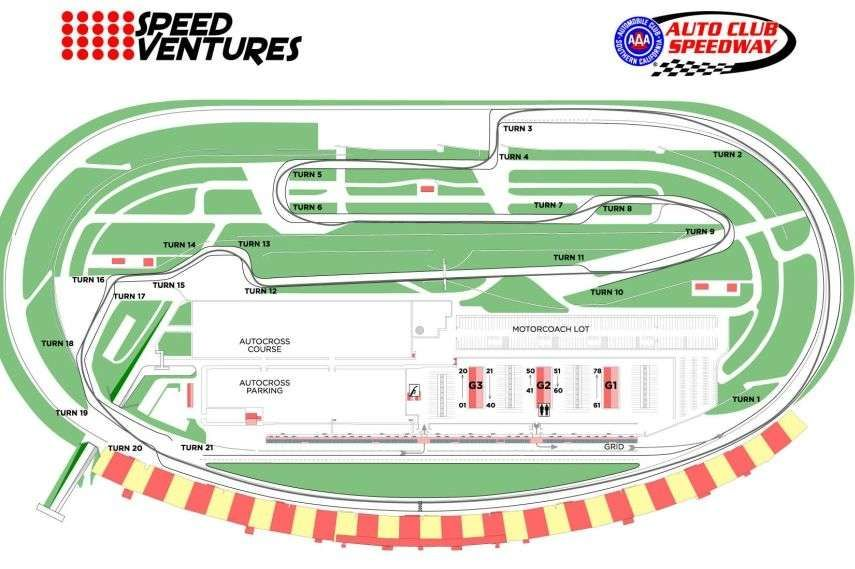 Auto Club Speedway, Fontana, California, oval road course layout