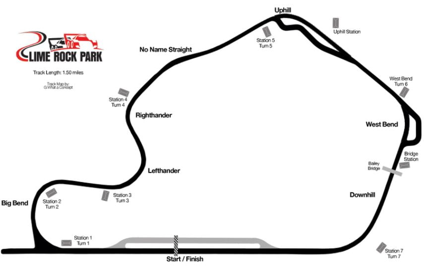 Lime Rock Park, track layout