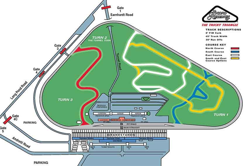 Pocono Raceway track layout