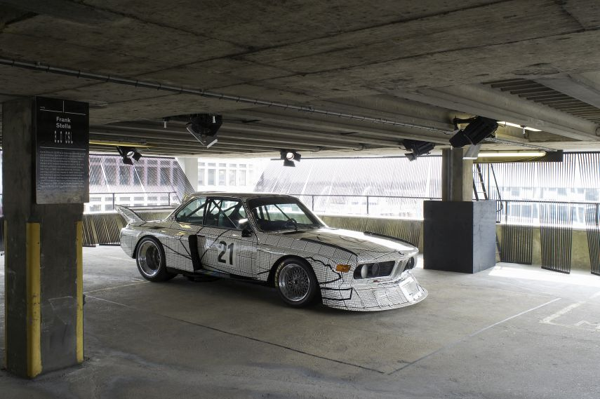BMW Art Car Collection, 1976 BMW 3.0 CSL by Frank Stella parked