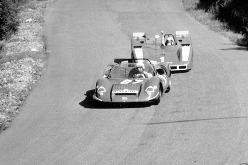 Arturo Merzario, Abarth, 1970 Mugello , black and white