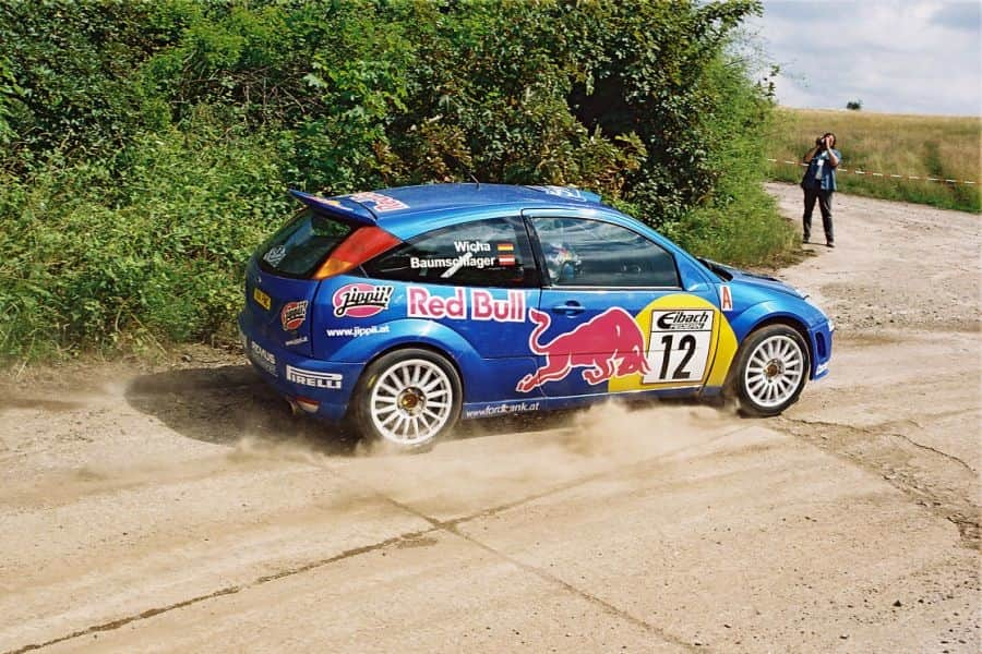 Raimund Baumschlager in a Ford Focus RS WRC at 2001 ADAC Rallye Deutschland