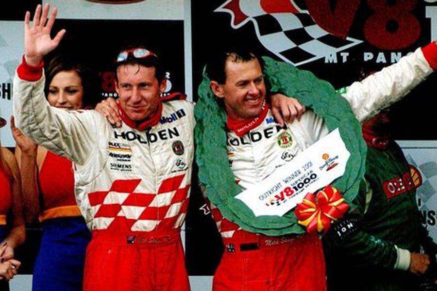 Mark Skaife and Tony Longhurst are celebrating 2001 Bathurst 1000 victory