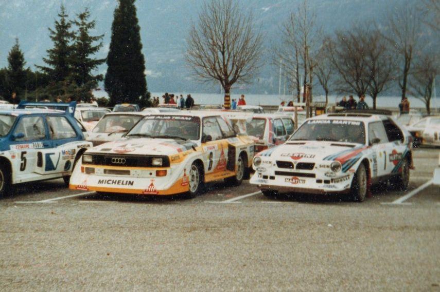 Hannu Mikkola's Audi and Henri Toivonen's Lancia at 1986 Rallye Monte-Carlo
