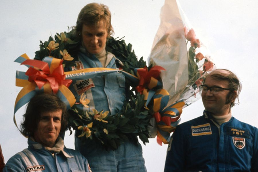 Alain Cudini at the top of the podium at Circuit Paul Ricard in 1974