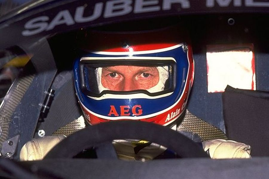 1989: Portrait of Alain Cudini in his Sauber Mercedes before the Le Mans 24 Hour Race at the Circuit de la Sarthe