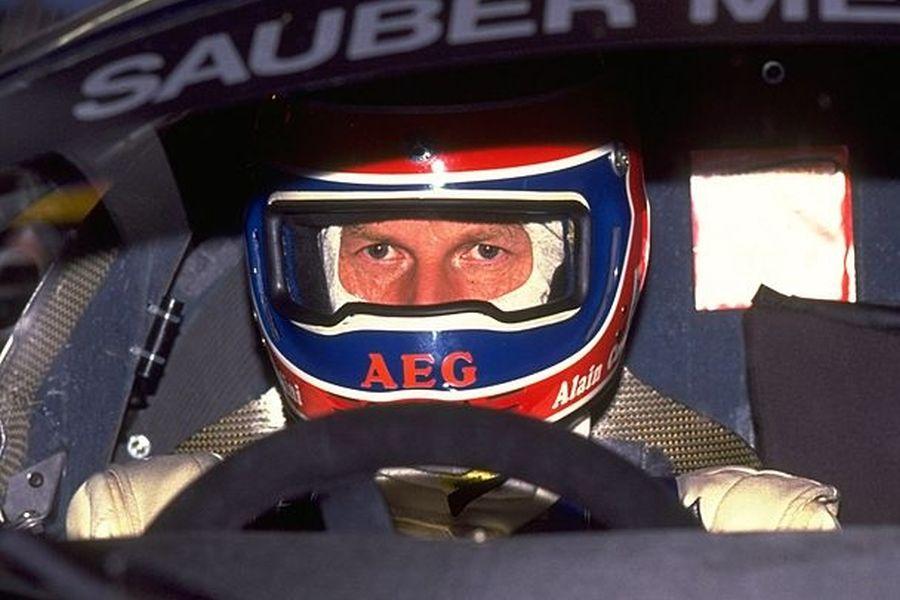 1989: Portrait of Alain Cudini in his Sauber Mercedes before the Le Mans 24 Hour Race at the Circuit de la Sarthe