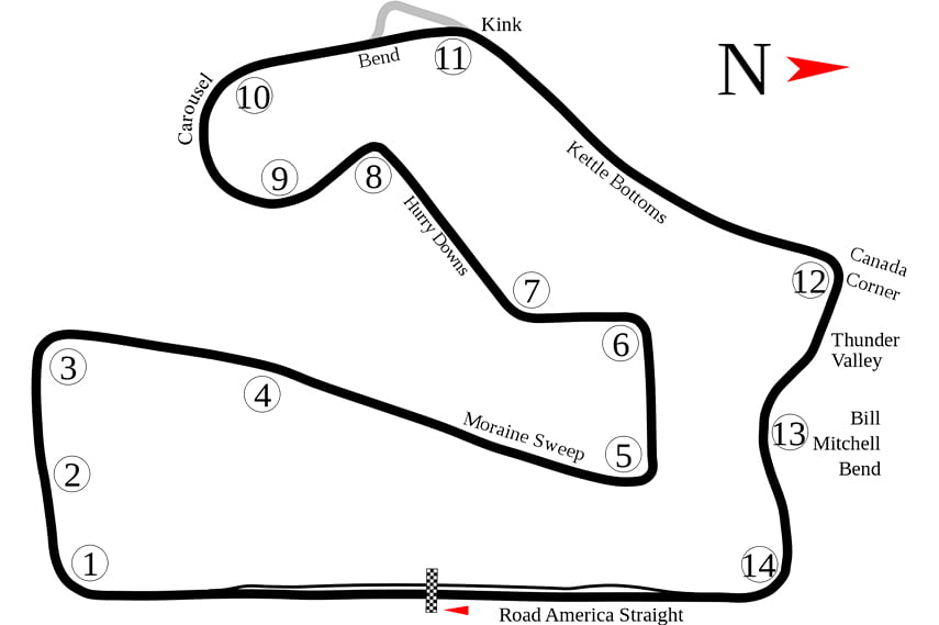 Road America, track layout, map