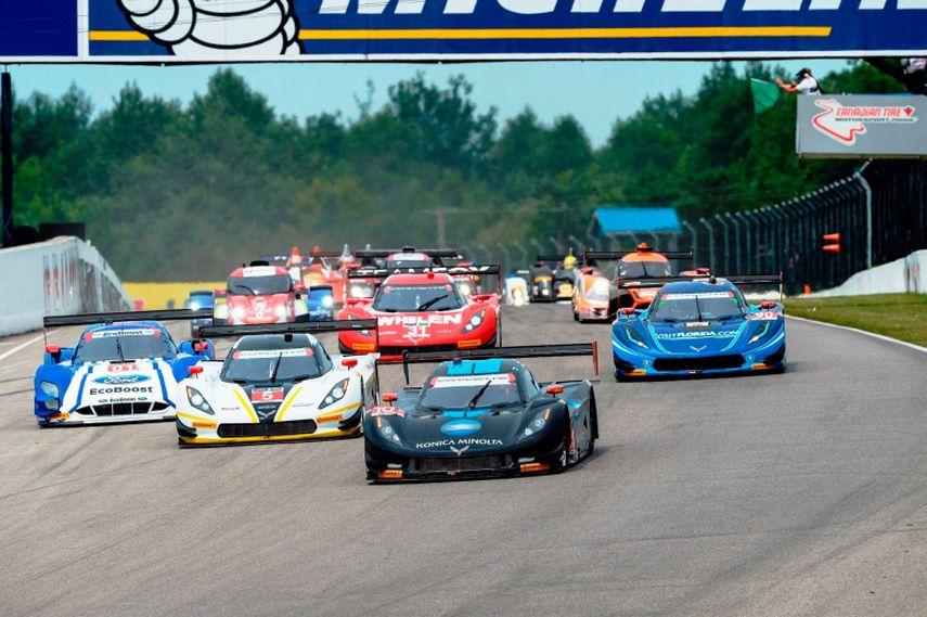 Cars racing during IMSA Grand Prix