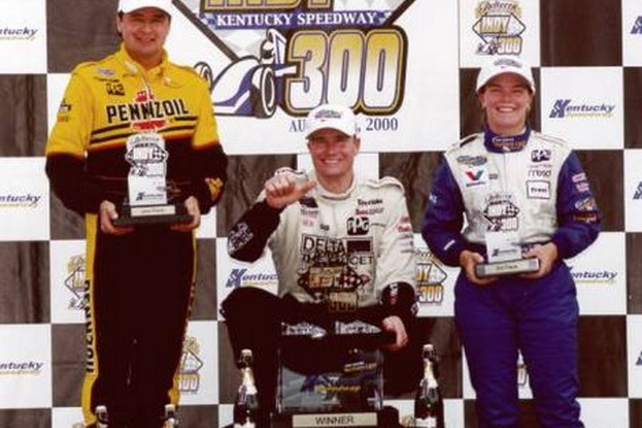 2000 Kentucky podium, Lazier, Goodyear, Sarah Fisher