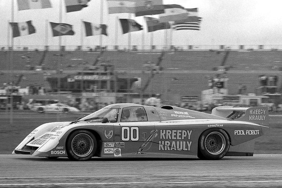The #00 March-Porsche 83G of Sarel van der Merwe, Graham Duxbury and Tony Martin at 1984 Daytona 24 Hours