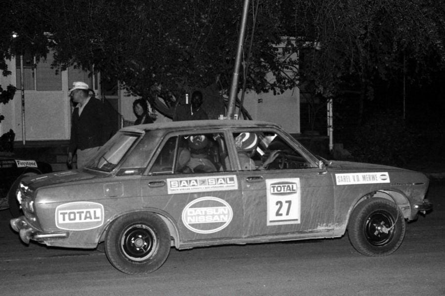 Sarel van der Merwe in a Datsun rally car early in a career
