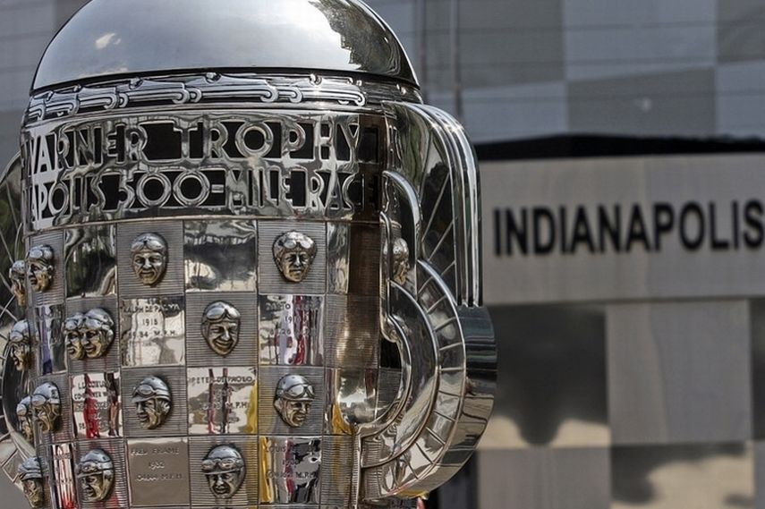 Borg-Warner Indianapolis 500 trophy, IndyCar cars, sports news, share Facebook