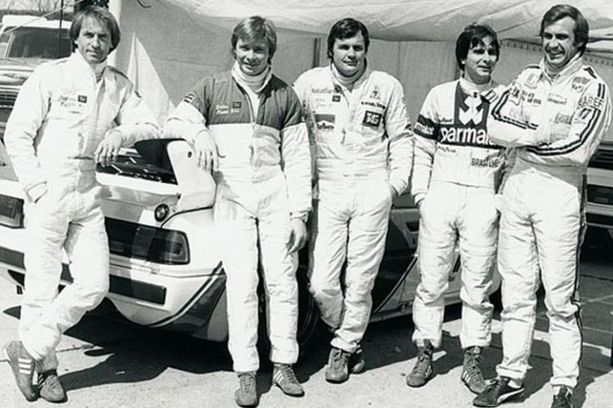 Manfred Schurti (left) next to F1 drivers who were his rivals in the BMW M1 Procar Championship