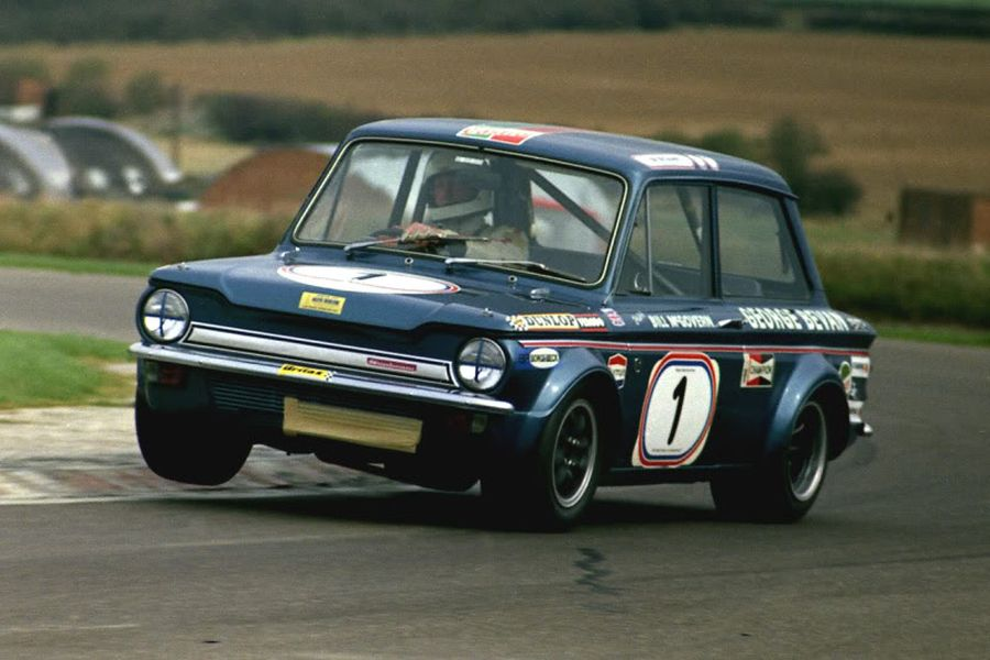 Bill McGovern in a Hillman Imp in 1972
