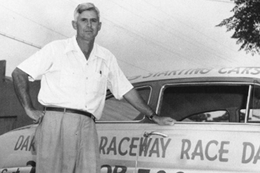 Harold Brasington, founder of the raceway, black and white