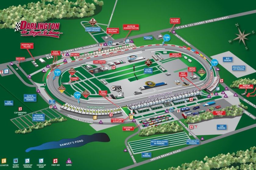 Darlington Raceway map/track layout