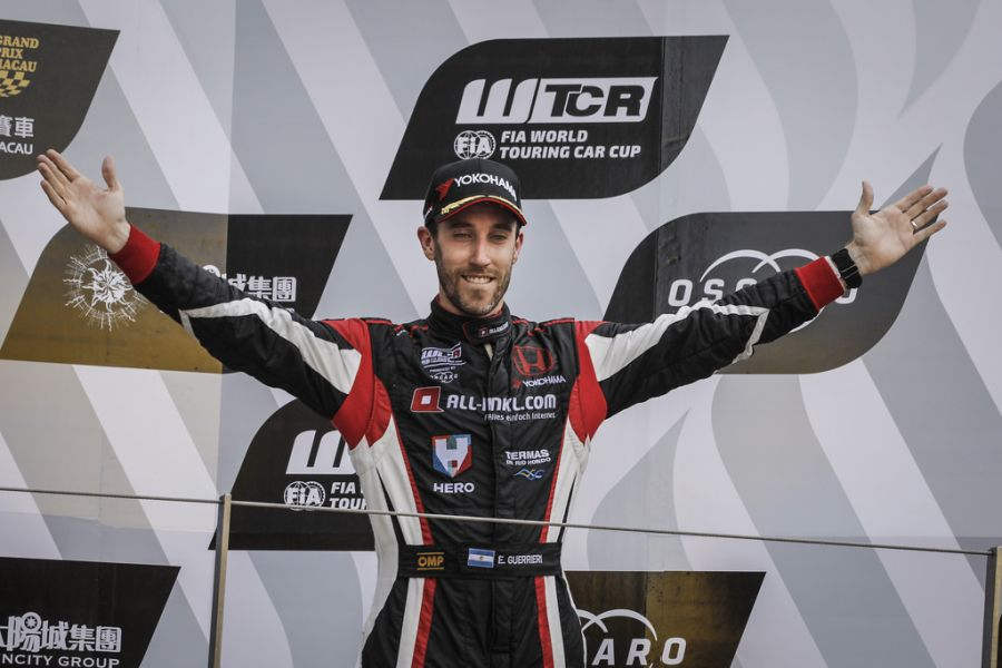 Guerrieri is celebrating a victory at Macau Guia Circuit