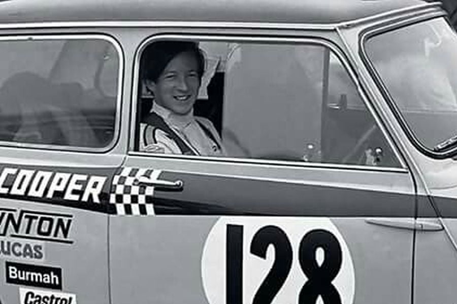 Gordon Spice in a Mini Cooper early in a career