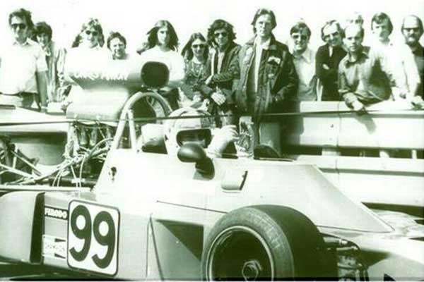Chris Amon at Knockhill Racing Circuit, black and white