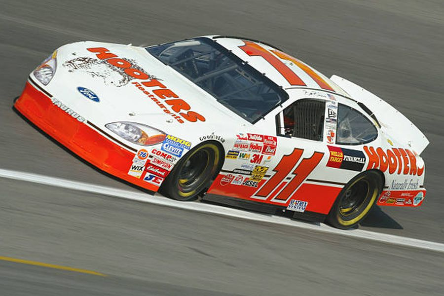 In his last Winston Cup season, Brett Bodine was driving the #11 Hooters Ford Taurus
