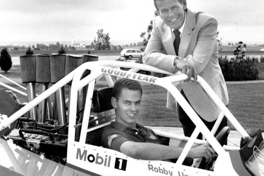 Robby Unser and his father Bobby, 1990