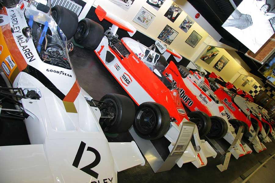 A museum of Formula One Cars in Donington museum, England