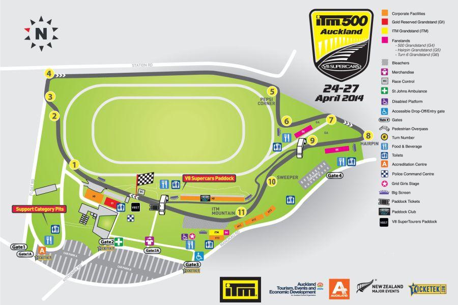 Pukekohe Park Raceway, track layout, map, 2013
