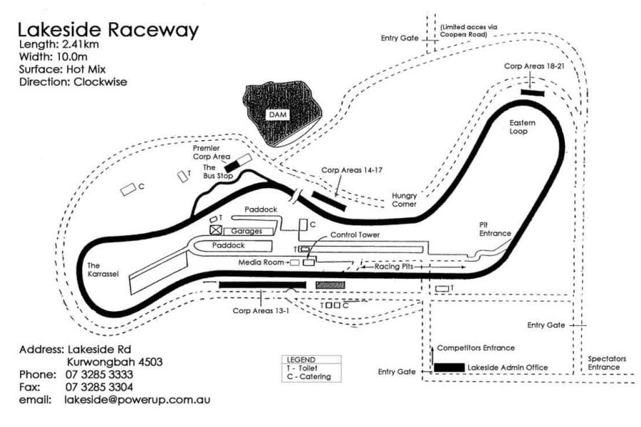 Map of the Lakeside Park circuit