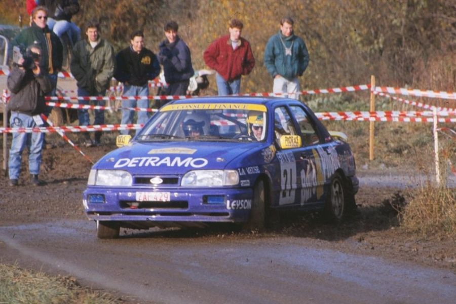 Yves Matton at 1991 Rallye du Condroz in a Ford Sierra RS Cosworth 4x4
