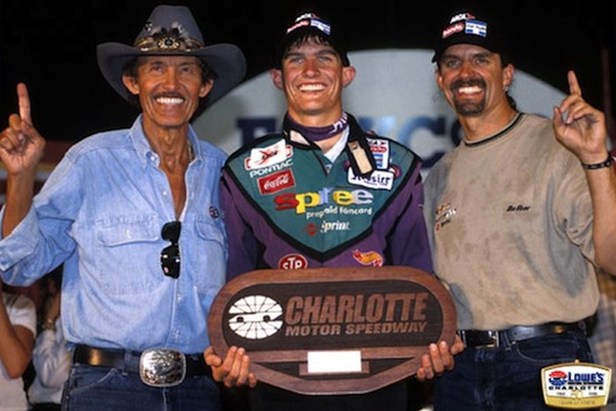 Richard (left) and Kyle Petty with Adam after his ARCA Series win at Charlotte